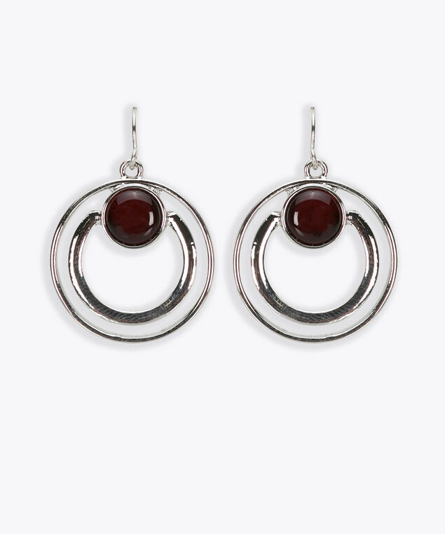 Double Circle Cateye Necklace, Rhodium/Burgundy, hi-res