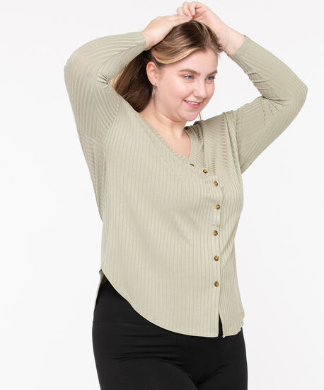 Ribbed Button Front Long Top, Sage, hi-res