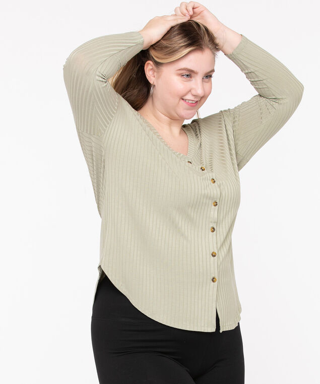 Soft Ribbed Button Front Top, Sage, hi-res