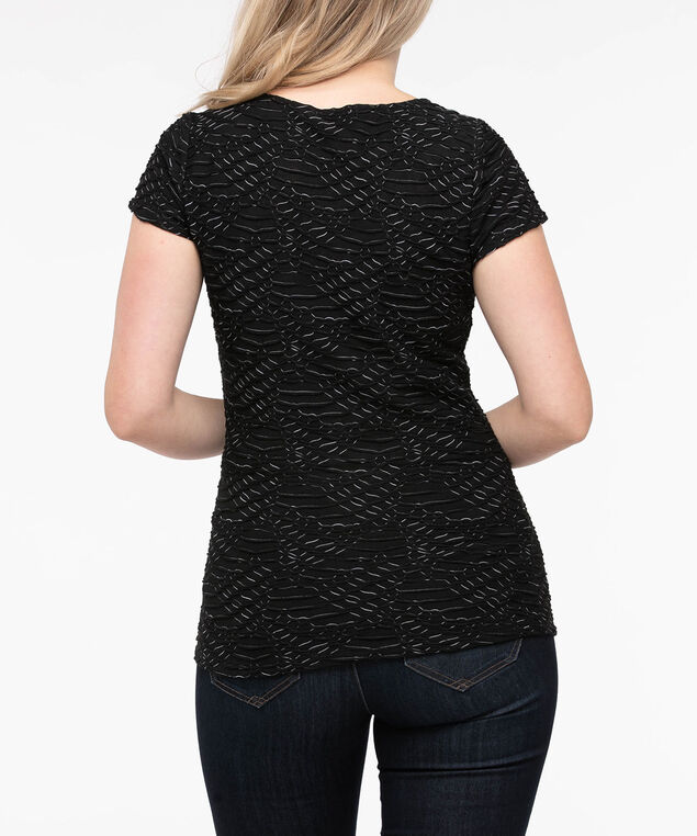 Textured Short Sleeve Scoop Neck Top, Black Mix, hi-res