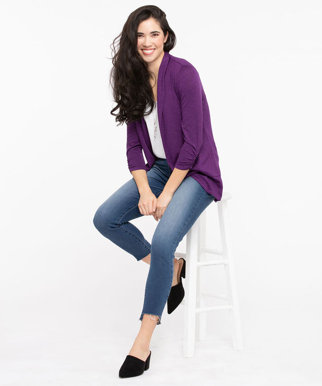 Shawl Collar Cardigan, Purple, hi-res