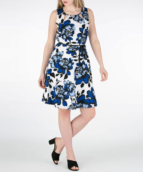 Cut-Out Neck Fit & Flare Dress, Blue/White/Black, hi-res