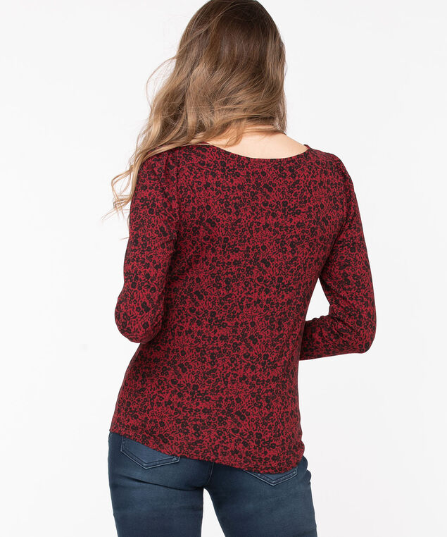 Puff Sleeve Scoop Neck Top, Poppy Red/Black Floral, hi-res