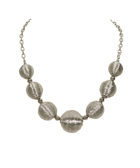 Thread-Wrapped Ball Statement Necklace, Rhodium, hi-res
