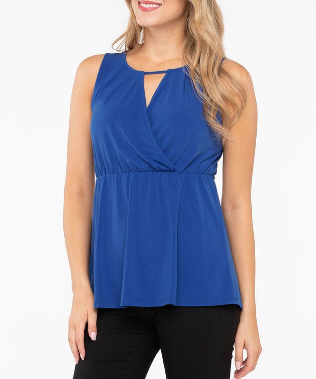 Sleeveless Crossover Empire Waist Top, Deep Sapphire, hi-res