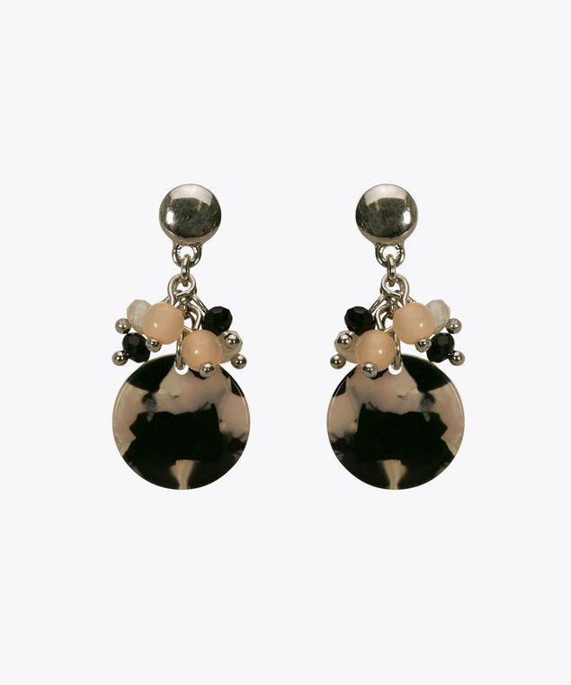 Resin Disk Cluster Earring, Black/Peach Sorbet, hi-res