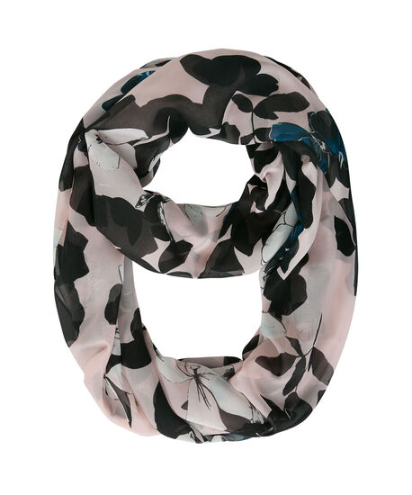 Floral Print Eternity Scarf, Pink/Midnight Teal/Black, hi-res