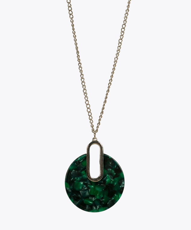 Resin Circle Pendant Necklace, Green/Rhodium, hi-res
