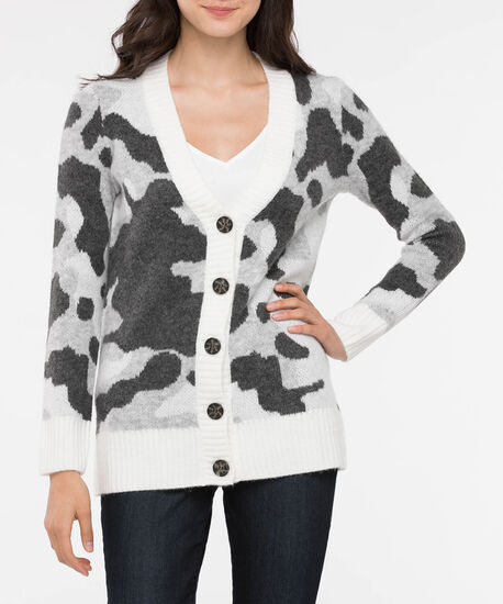 Camo Pattern Button Front Cardigan, Mid Heather Grey/Pearl, hi-res