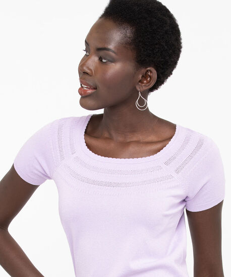 Short Sleeve Pullover Sweater, Lilac, hi-res