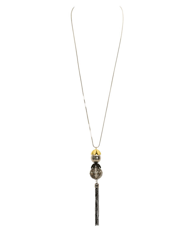 Ball & Tassel Pendant Necklace, Yellow/Black/Rhodium, hi-res