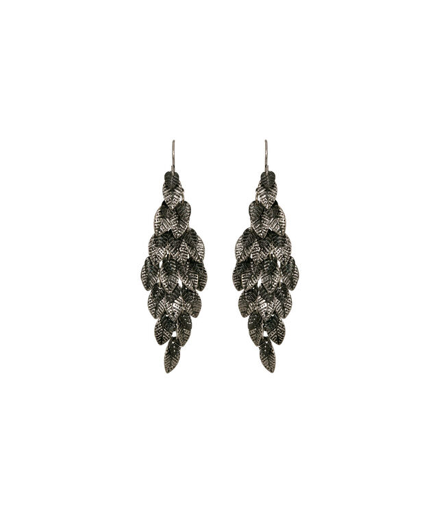 Leaf Cluster Drop Earring, Burnished Silver/Hematite, hi-res