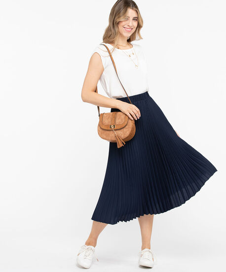 Pleated Midi Skirt, Summer Navy, hi-res