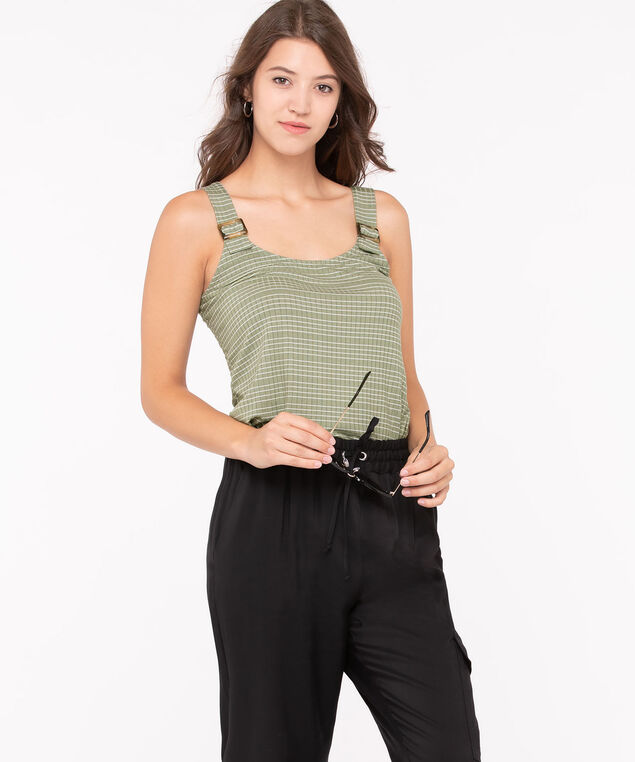 Sleeveless Textured Buckle Top, Basil/Pearl, hi-res