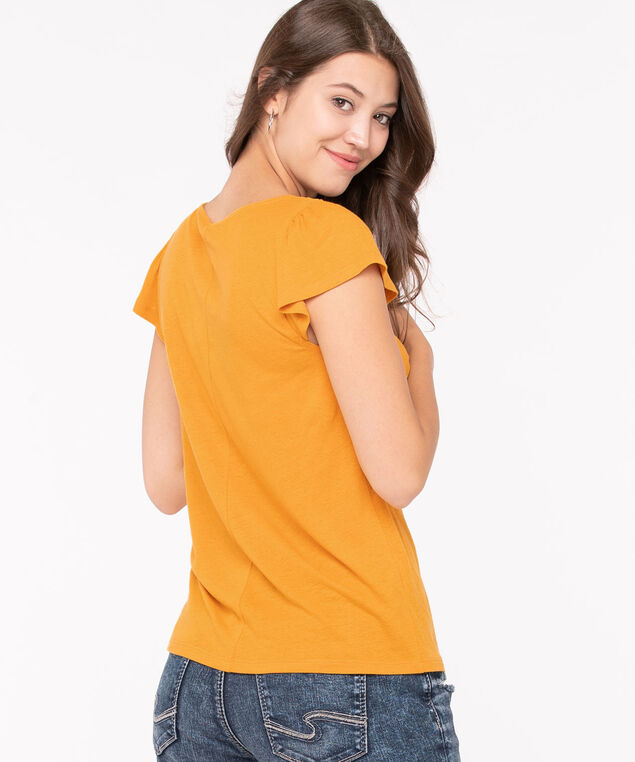Crochet Square Neck Flutter Sleeve Top, Tumeric