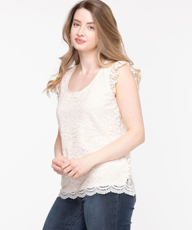 Lace Ruffle Sleeve Top, Whisper White