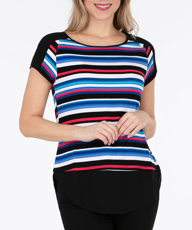 Chiffon Trim Fooler Top, Black/Blue/White, hi-res