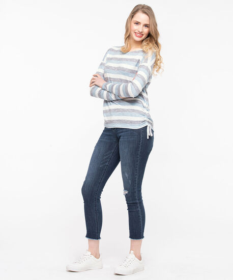 Side Ruched Soft Knit Top, Stone Blue/Pearl/Mid Heather Grey, hi-res