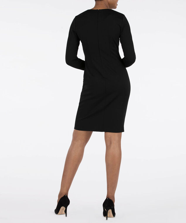 Button Trim Sheath Dress, Black, hi-res
