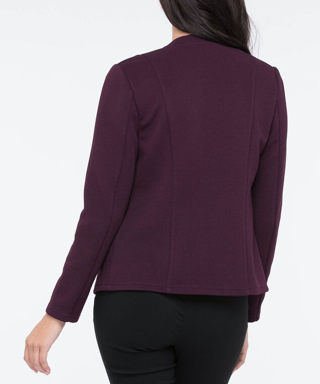 Textured Open Blazer, Plum, hi-res