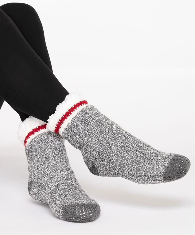 Cozy Cabin Reading Socks, Grey/Pearl/Crimson, hi-res