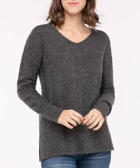 Pointelle V-Neck Pullover, Mid Heather Charcoal, hi-res