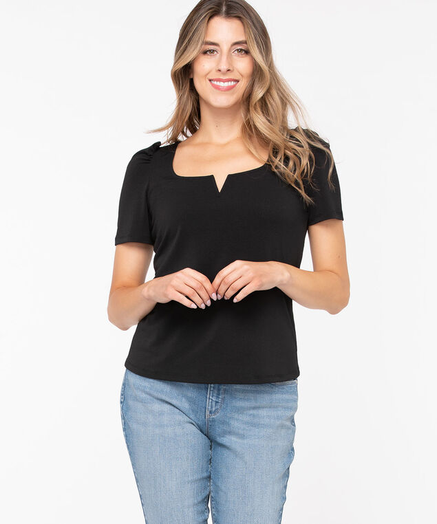 Puff Sleeve Square Neck Top, Black, hi-res