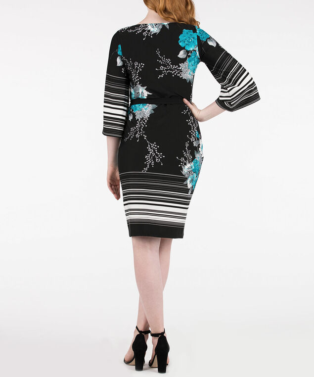 3/4 Sleeve Border Print Dress, Black/Rain/Pearl, hi-res