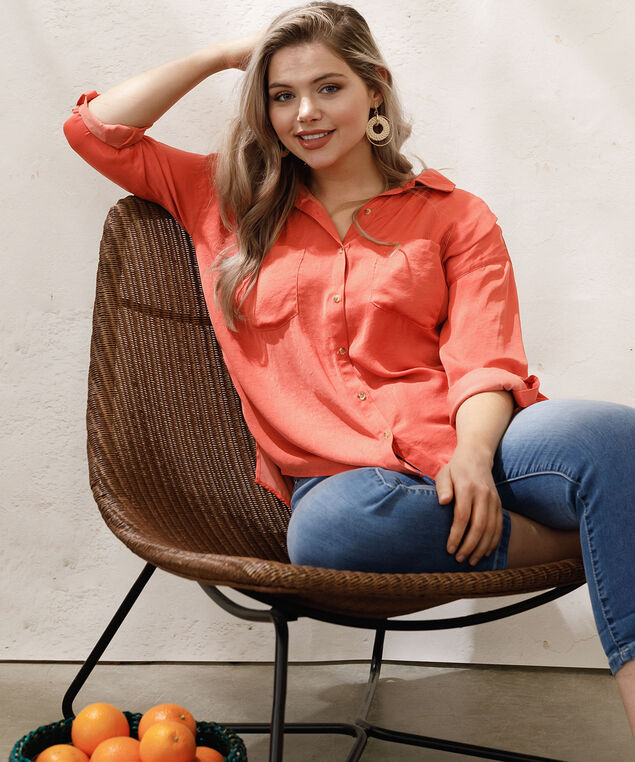 Democracy Crinkle Wash Button Blouse, Orange, hi-res