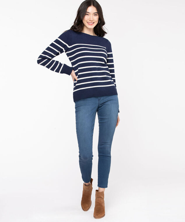 Striped Boat Neck Sweater, Navy/White