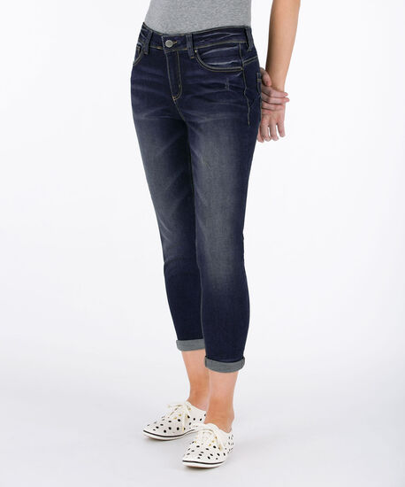 Mid-Wash Cuffed Denim Crop, Mid Wash, hi-res