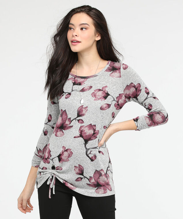 Side Tie Lightweight Knit Top, Mid Heather Grey/Berry, hi-res