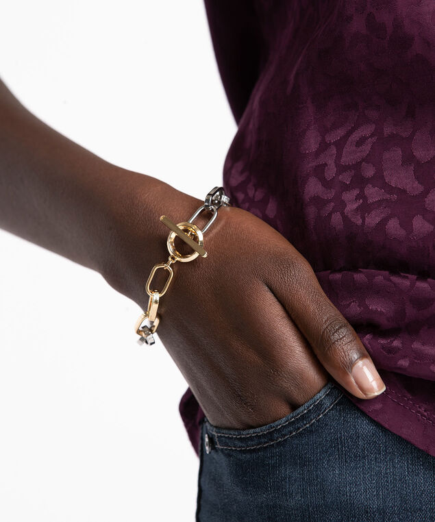 Mixed Metal Chain Link Bracelet, Gld/Sil