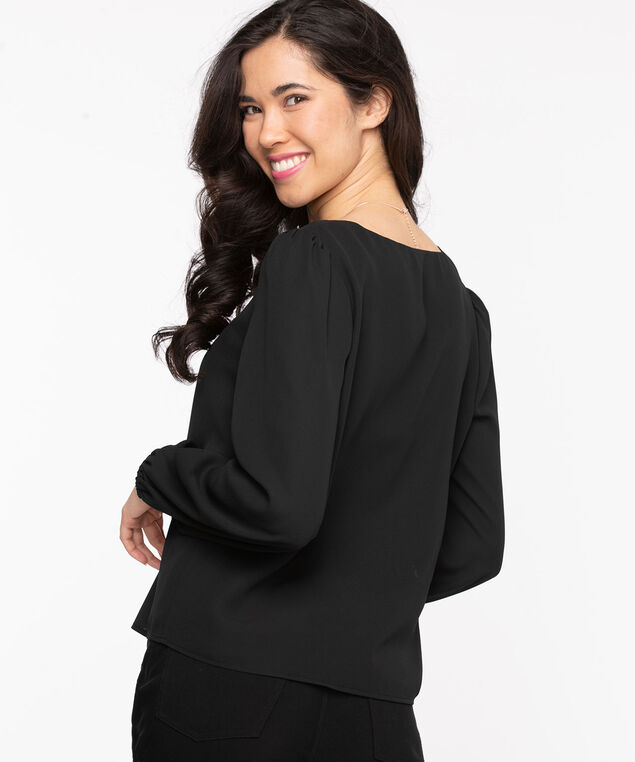 Long Sleeve V-Neck Blouse, Black