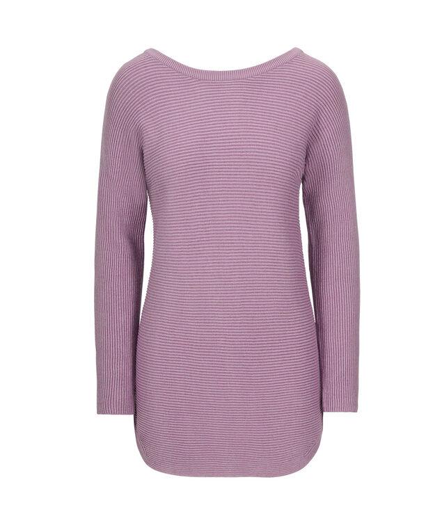 Ribbed Tab-Back Pullover, Mid Purple, hi-res