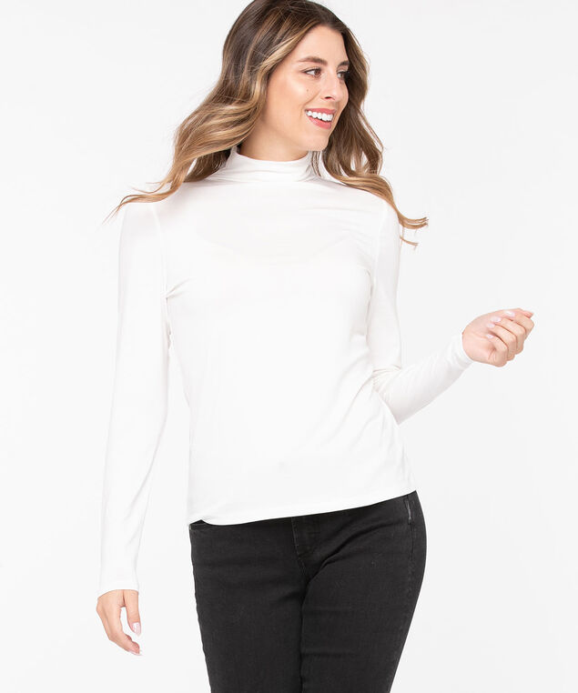 Jersey Turtleneck Pullover, Pearl