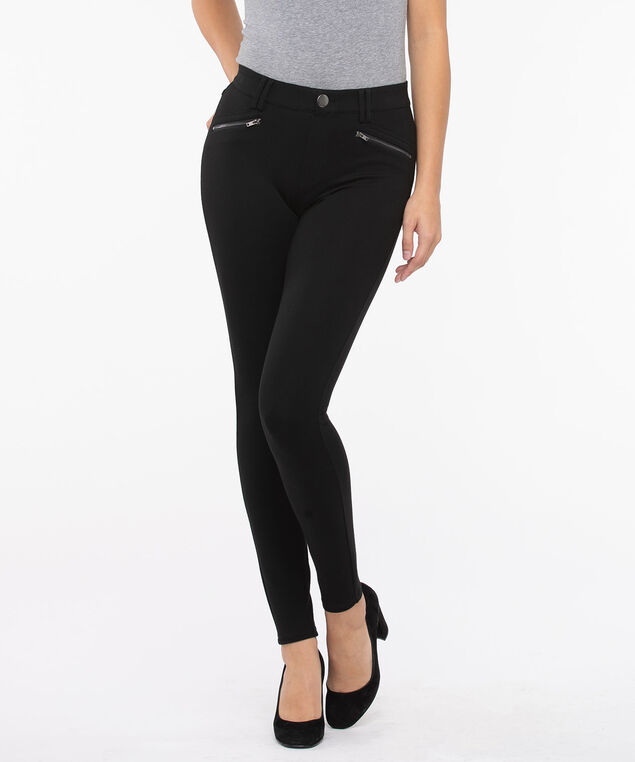 Luxe Ponte Button Front Pull on Pant, Black, hi-res