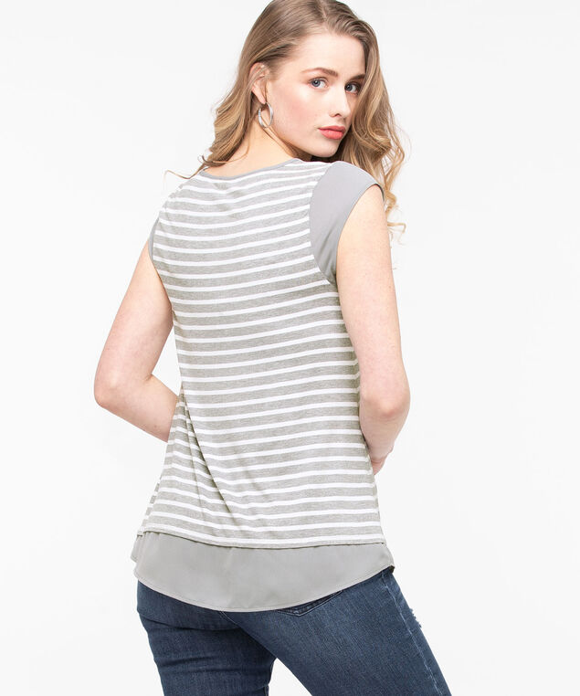Chiffon Trim Pocket Tee, Mid Heather Grey/Pearl, hi-res