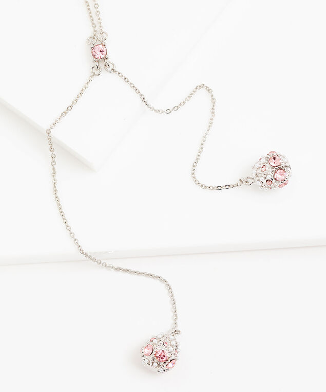 Dangly Pink Jewel Necklace, Rhodium/Pink