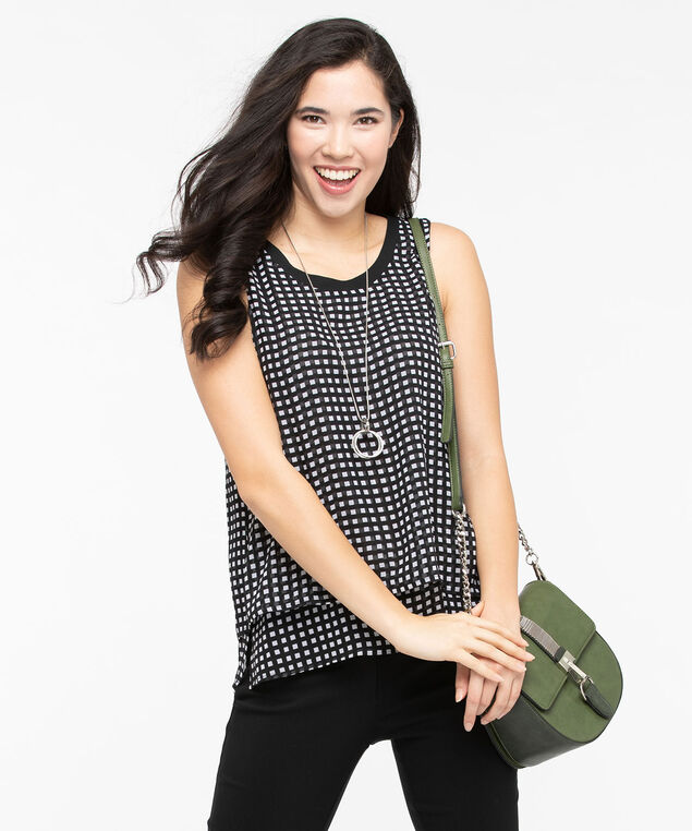 Sleeveless Layered Scoop Neck Blouse, Black/Pearl, hi-res