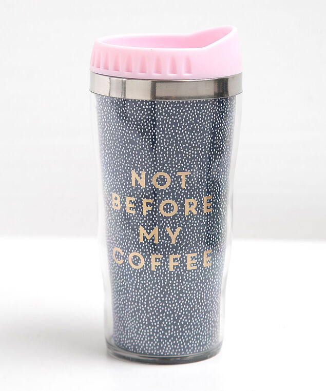 Not Before Coffee Travel Mug, Pink/Navy/Gold, hi-res