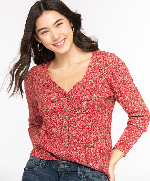 V-Neck Button Front Cardigan, Chili Pepper, hi-res