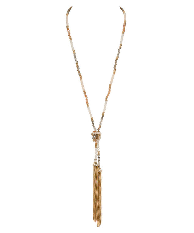 Tie-Beaded Tassel Lariat Necklace, Peach/Blue/Soft Gold, hi-res