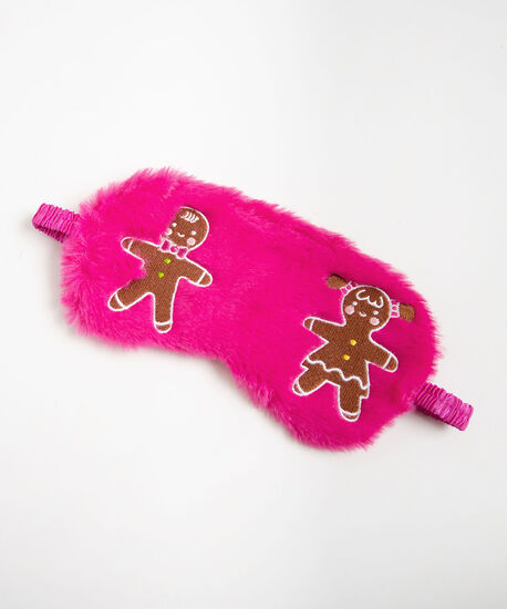 Gingerbread Faux Fur Sleep Mask, Bright Pink/Pearl, hi-res