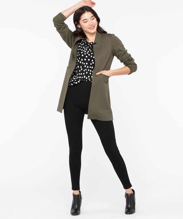Open Front Long Knit Jacket, Olive Night, hi-res
