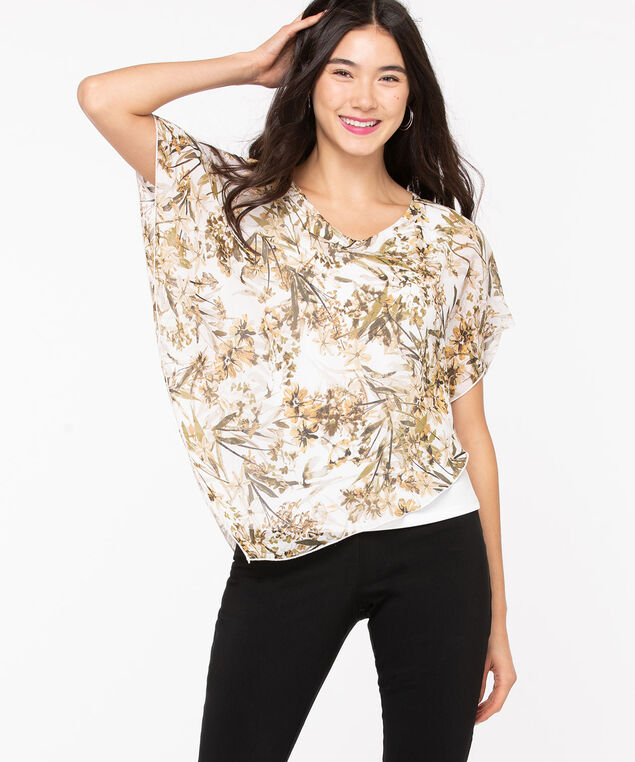 V-Neck Pointed Overlay Blouse, Ivory/Sage/Tan, hi-res