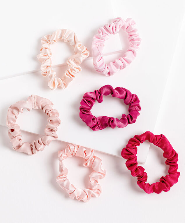 Pink Satin Scrunchie 6-Pack, Pink/Blush/Rose Smoke