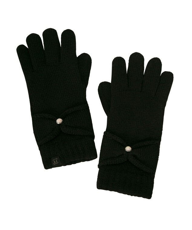 Pearl Trim Chenille Lined Glove, Black, hi-res