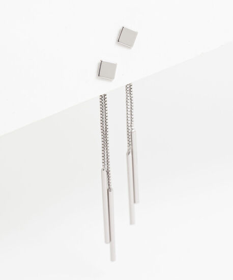 Diamond-Shaped Dangly Earring, Silver, hi-res