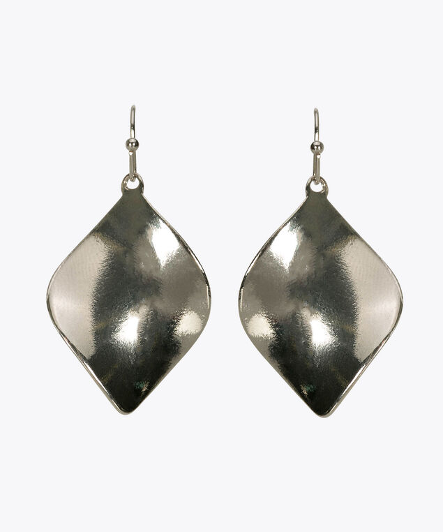 Swirl Leaf Drop Earring, Rhodium, hi-res